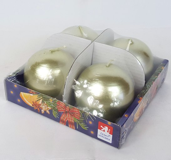 Svíčky adventní s perletí set 4ks koule 60mm Barva: olivově zelená