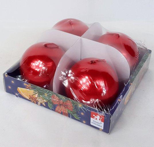 Svíčky adventní s perletí set 4ks koule 60mm Barva: červená