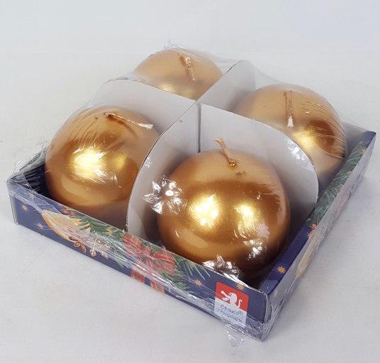 Svíčky adventní s perletí set 4ks koule 60mm Barva: zlatá