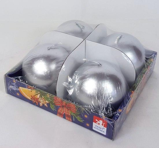 Svíčky adventní s perletí set 4ks koule 60mm Barva: stříbrná