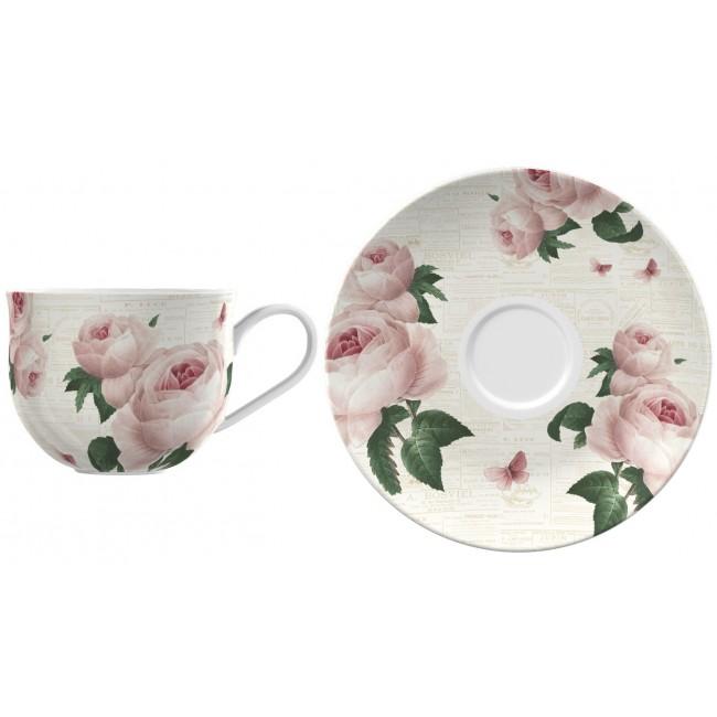 Creative Tops Hrnek s podšálkem ENGLISH TABLE   porcelán   9x17x17cm Barva: bílá
