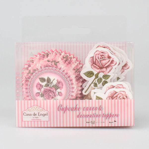 Casa de Engel Papírové košíčky na muffiny se zápichy set 48ks Levandule a Růže S motivem: růže