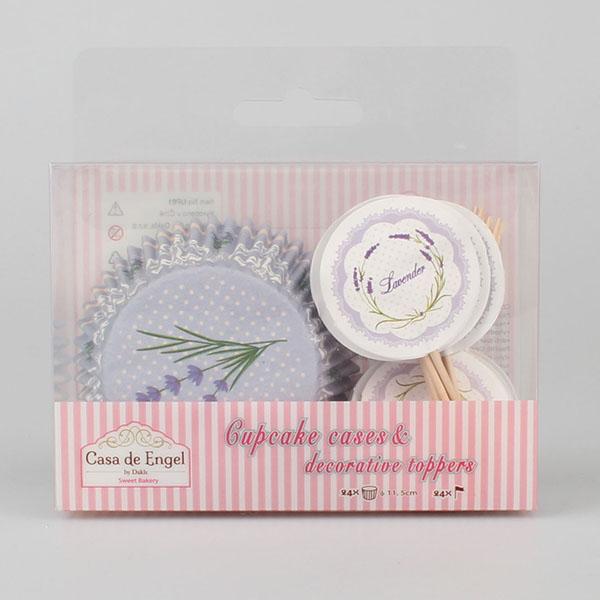 Casa de Engel Papírové košíčky na muffiny se zápichy, set 48ks, motiv Levandule a Růže S motivem: levandule