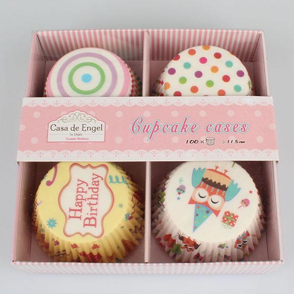 Casa de Engel Papírové košíčky na muffiny sada 100ks 4x narozeninový motiv