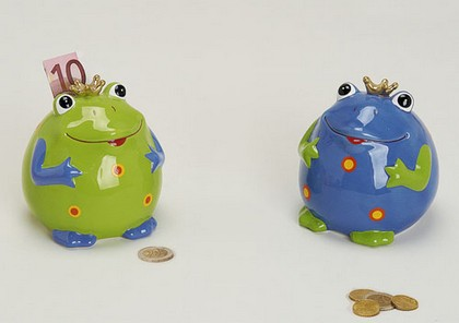 Kasička žába keramika 10cm Barva: modrá
