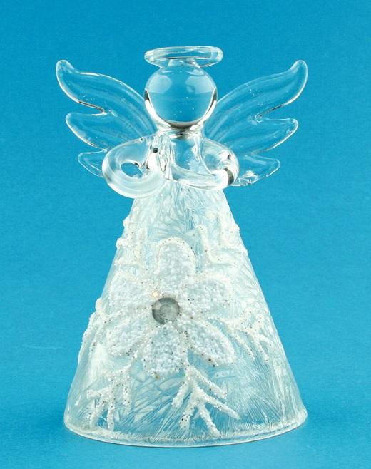 Anděl Přerov Anděl skleněný na postavení s vločkou 8 cm