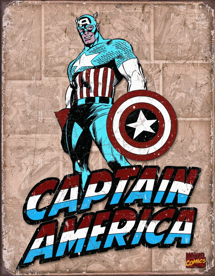 Desperate Enterprises, Inc. Plechová cedule - Captain America Retro Panels 40x30cm