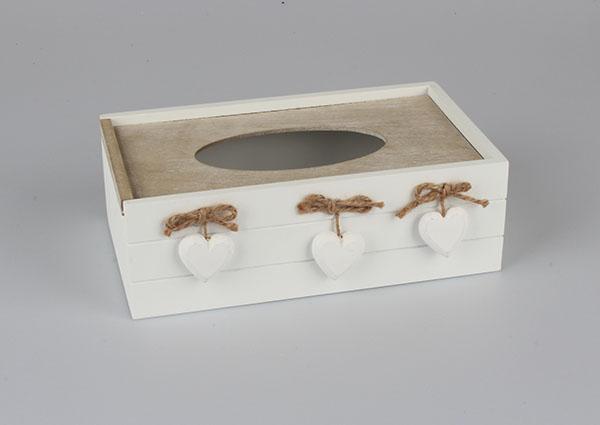 Casa de Engel Krabička na kapesníky se srdíčky | 4 varianty Barva: béžově-bílá DACA-D084/BEZ