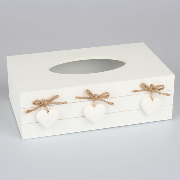Casa de Engel Krabička na kapesníky se srdíčky 26x15x8,5 cm Barva: šedá