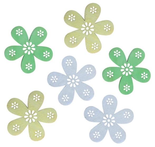 Anděl Přerov Dekorace dřevěné květy 6cm set 6ks