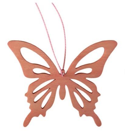 Motýl závěsný růžový dřevo 8cm