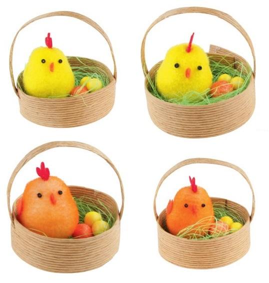 Kuřátka v košíčku 5cm set 2ks Barva: oranžová