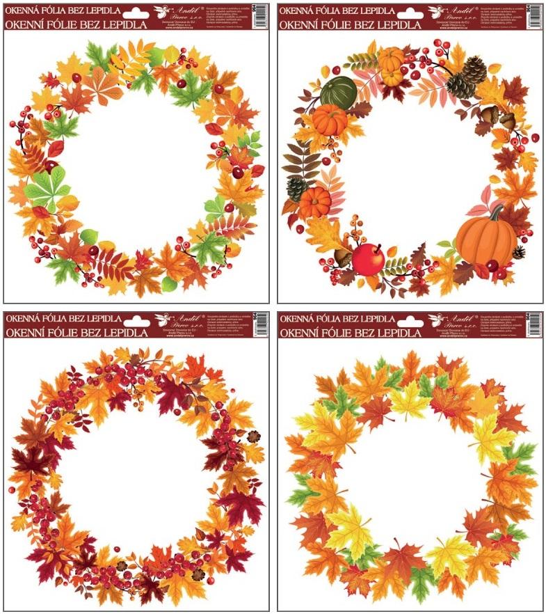 Okenní fólie podzimní věnce 30x30cm set 4ks