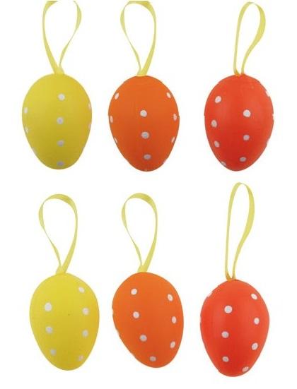 Anděl Přerov Vajíčka plastová s puntíky na zavěšení 4cm set 6ks