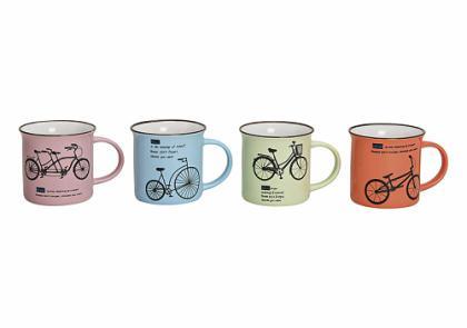 Hrnek bicykl porcelán set 4ks