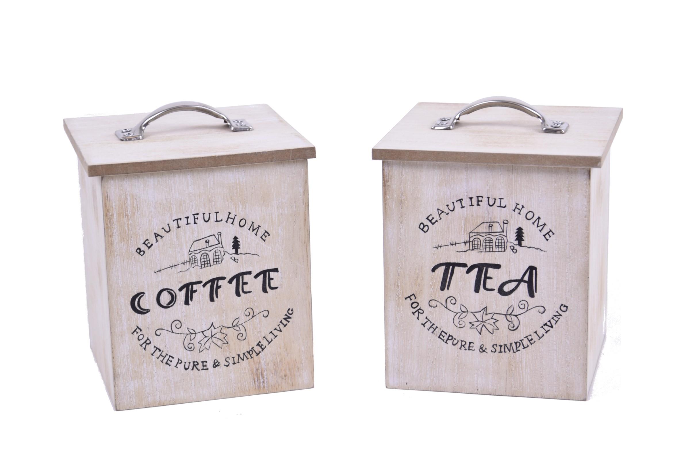 Box dřevěný na čaj a kávu S motivem: čaj