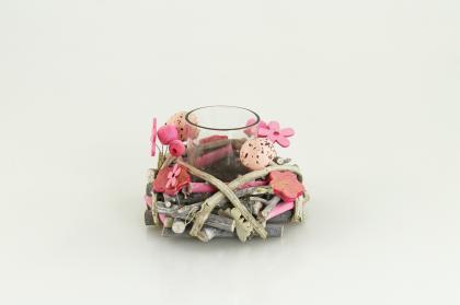 Kolouch Import Svícen s vejci sklo ratan růžový 12x8cm