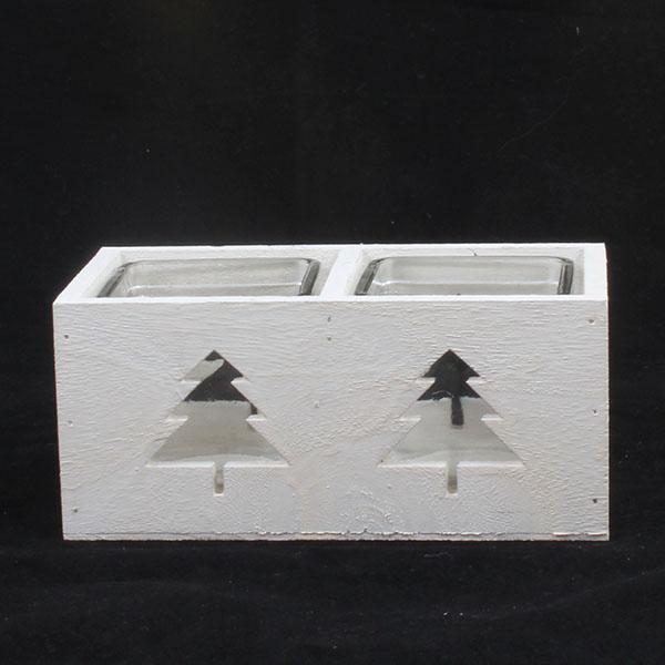 Svícen dřevěný bílý stromek 18,5cm