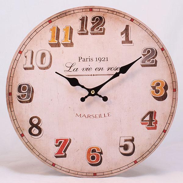 Hodiny dřevěné Paris 1921 34cm Průměr: 34cm