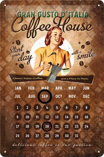 Nostalgic Art Plechová cedule Coffee House Rozměry: 20x30cm kalendář