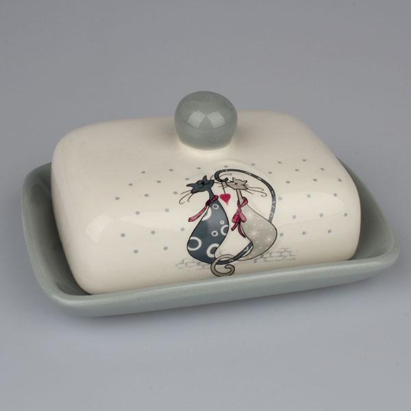 Casa de Engel Keramická máslenka Zamilované kočky 17,5×8,5×13cm