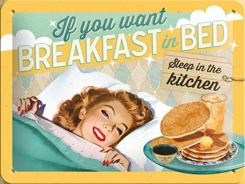 Nostalgic Art Plechová cedule Breakfast in Bed Rozměry: 15x20cm