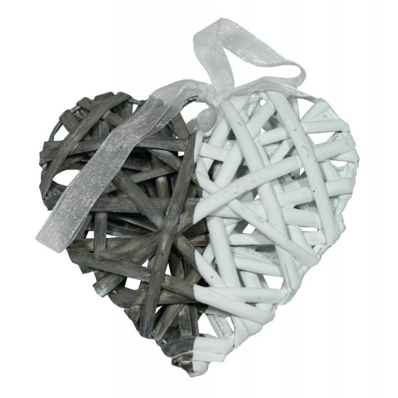 Srdce závěsná dekorace dvoubarevná ratan Velikost: menší