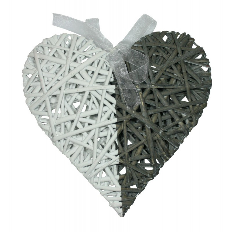 Srdce závěsná dekorace dvoubarevná ratan Velikost: větší