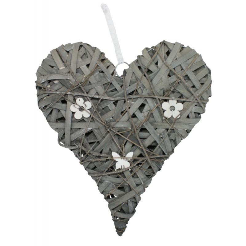 Srdce závěsná dekorace šedá ratan Velikost: větší