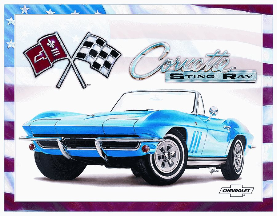 Desperate Enterprises, Inc. Plechová cedule Corvette Sting Ray blue Rozměry: 30x40cm