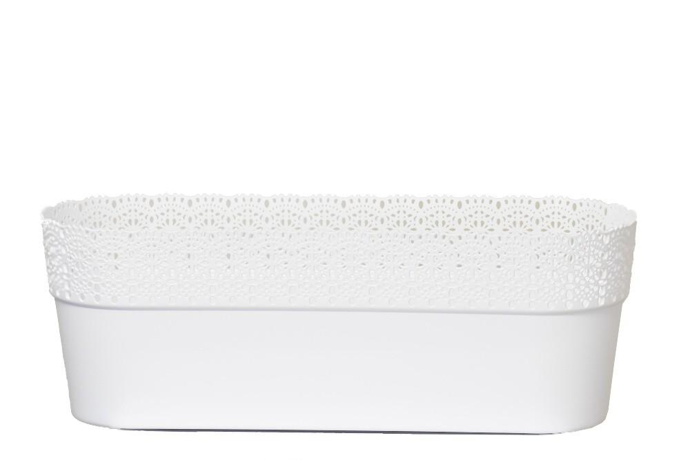 Květináč krajka Bella plast 30cm Barva: bílá