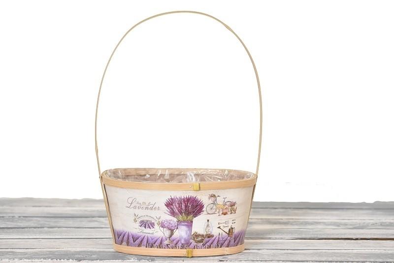 Dřevěný košík Lavender hnědý Velikost: větší