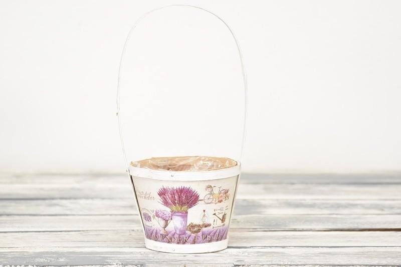 Dřevěný košík Lavender bílý Velikost: menší