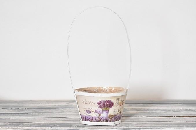 Dřevěný košík Lavender bílý Velikost: větší