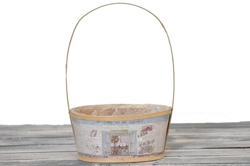 Dřevěný košík Garden hnědý Velikost: menší