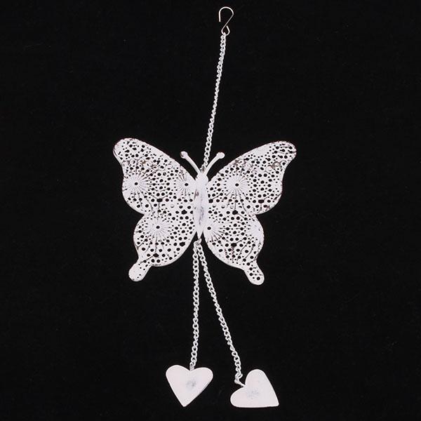 Kovový motýl se srdíčky závěs 36,5cm