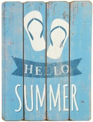 Obraz HELLO SUMMER dřevěný 40x30cm Barva: modrá