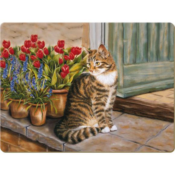 Creative Tops Korkové prostírání Cottage Cat Rozměry: 10x10cm - 6ks