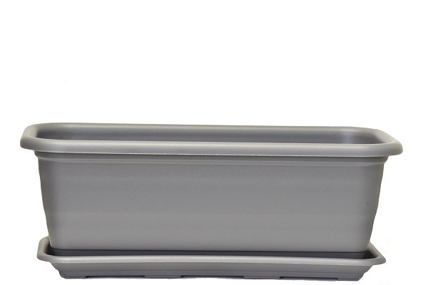 Harasim Plastový truhlík Natura s podmiskou 500mm Barva: šedá
