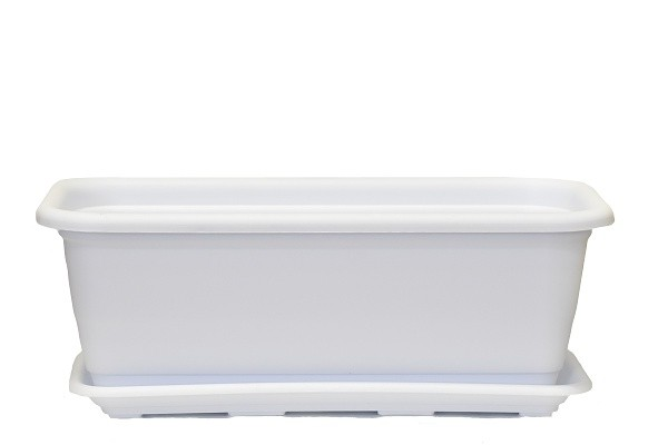 Plastový truhlík Natura s podmiskou 500mm Barva: bílá