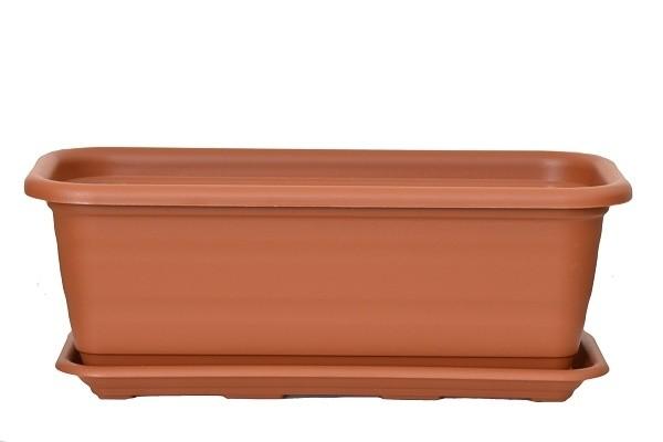 Plastový truhlík Natura s podmiskou 500mm Barva: cihlová