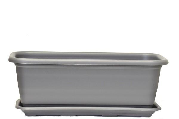 Plastový truhlík Natura s podmiskou 400mm Barva: šedá