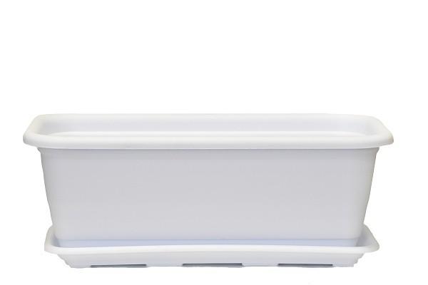 Plastový truhlík Natura s podmiskou 400mm Barva: bílá