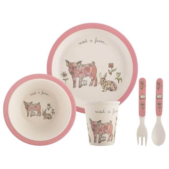 Creative Tops Dětský jídelní set 5ks Barva: růžová