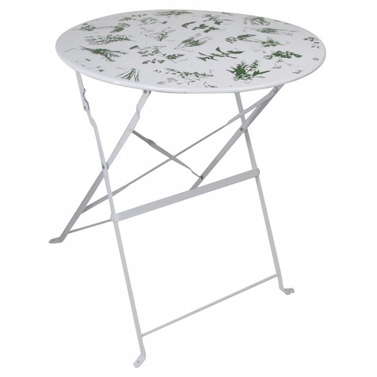 Zahradní skládací stolek potisk bylinky 61x61x70cm