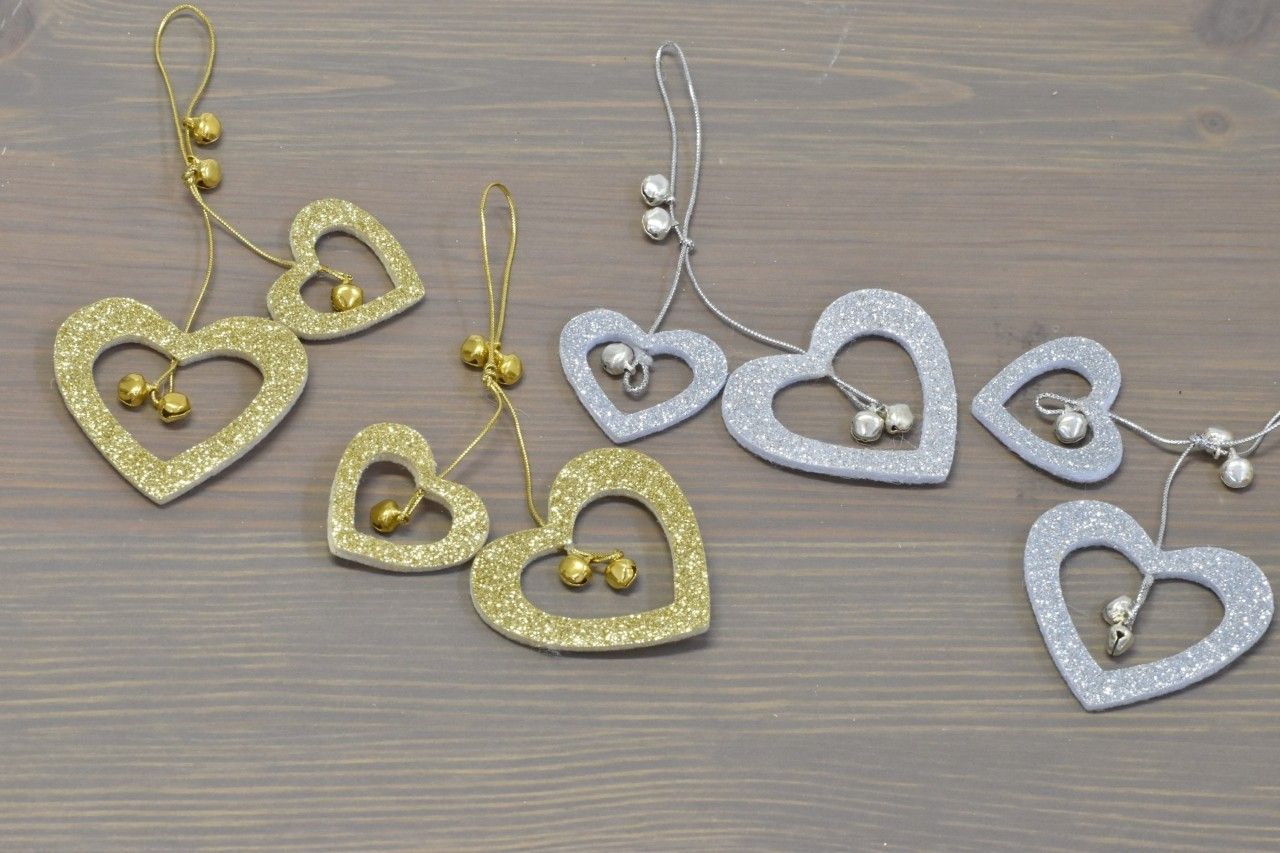 Harasim Dekorace srdce na zavěšení set 2ks Barva: zlatá