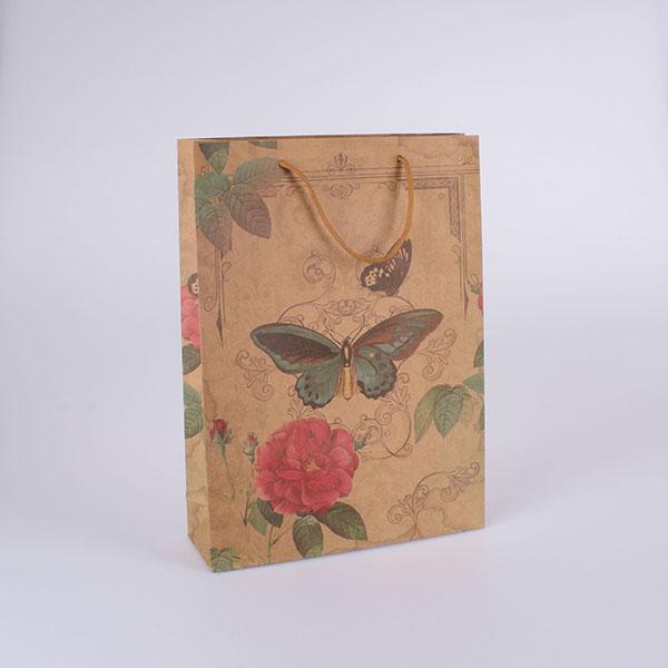 Dárková taška růže a motýl 19x24,5cm