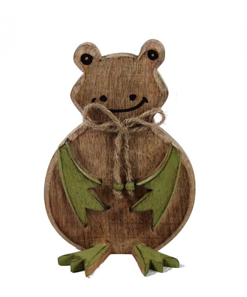 Žába sedící hnědá dřevo