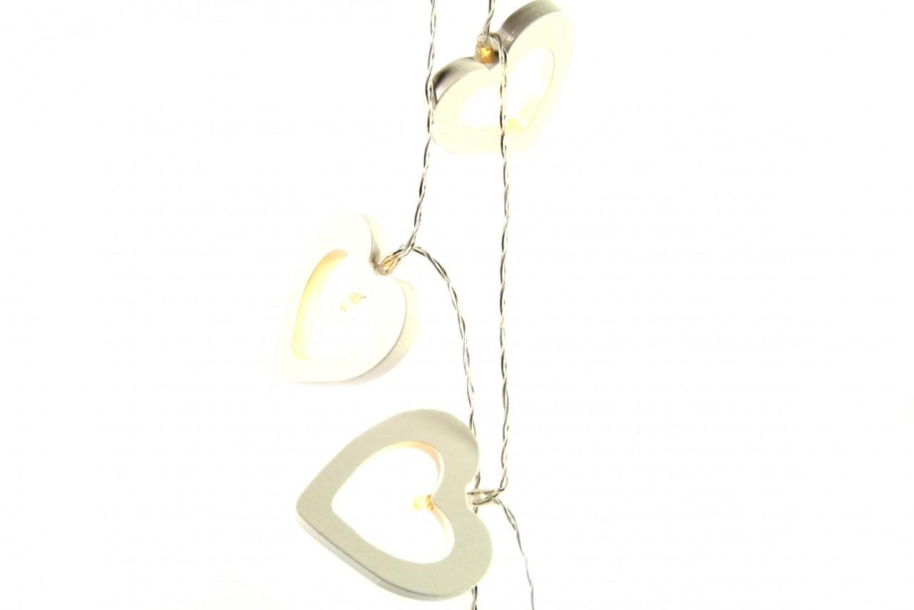 LED světelná girlanda srdce bílá 165cm