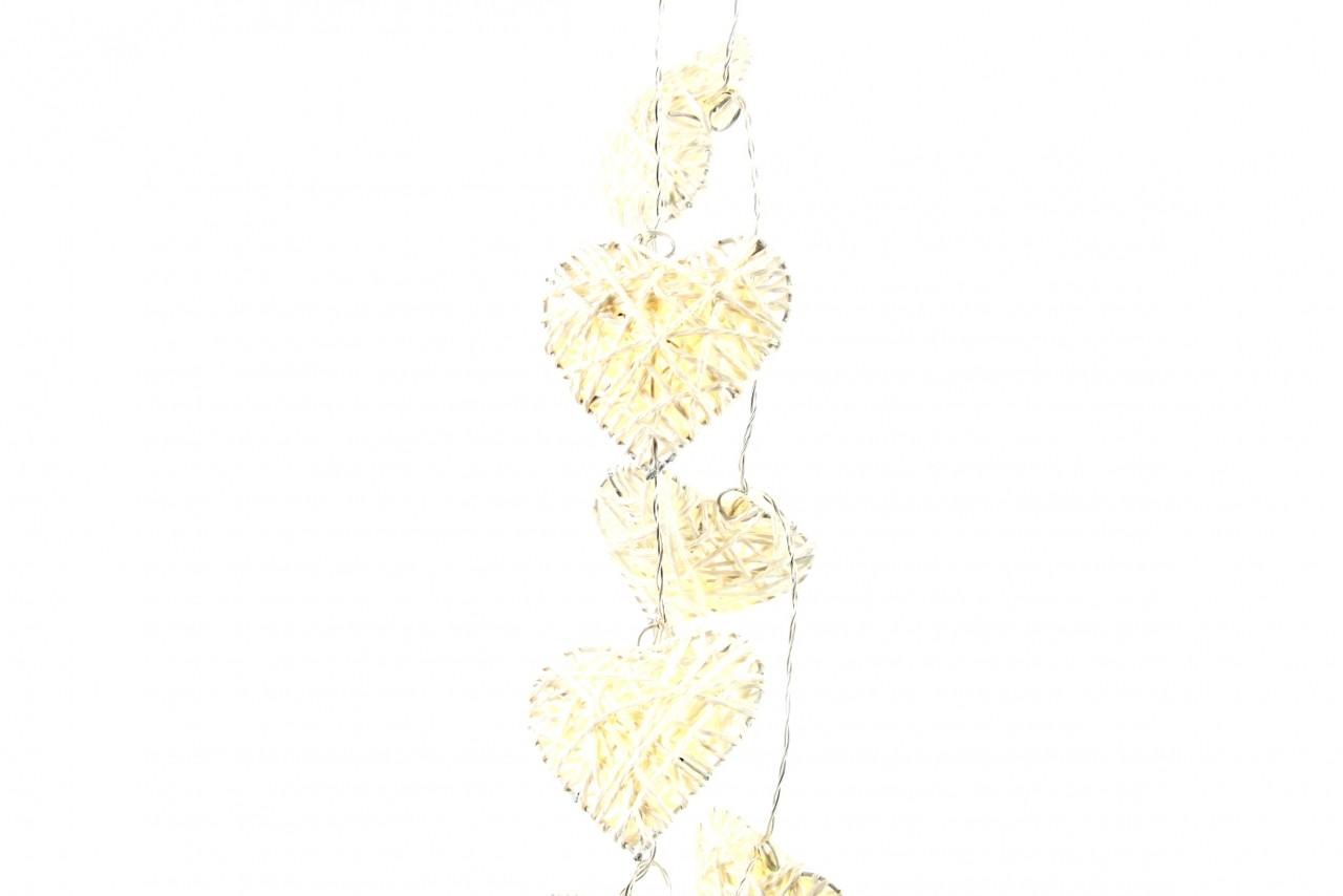 LED světelná girlanda srdce bílá 150cm